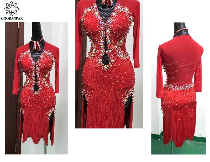 GOODANPAR конкуренции Латинской платье Одежда для танцев Для женщин V шеи Fringe лайкра Salsa Костюм для танго одежда с боди бюстгальтер Индивидуальн
