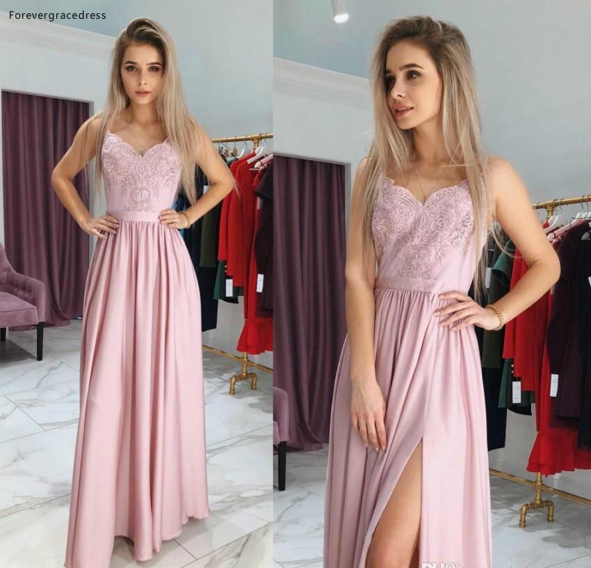 2019 Cheap Split   Prom     Dress   A Line Lace Appliques Long Formal Pageant Holidays Wear Graduation Evening Party Gown Plus Size