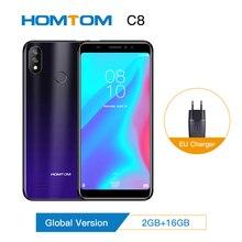 الأصلي HOMTOM C8 الهاتف المحمول 2GB RAM 16GB ROM 5.5 بوصة MT6739 الروبوت 8.1 13 + 2 ميجابكسل 3000mAh الوجه ID بصمة 4G الهاتف الذكي