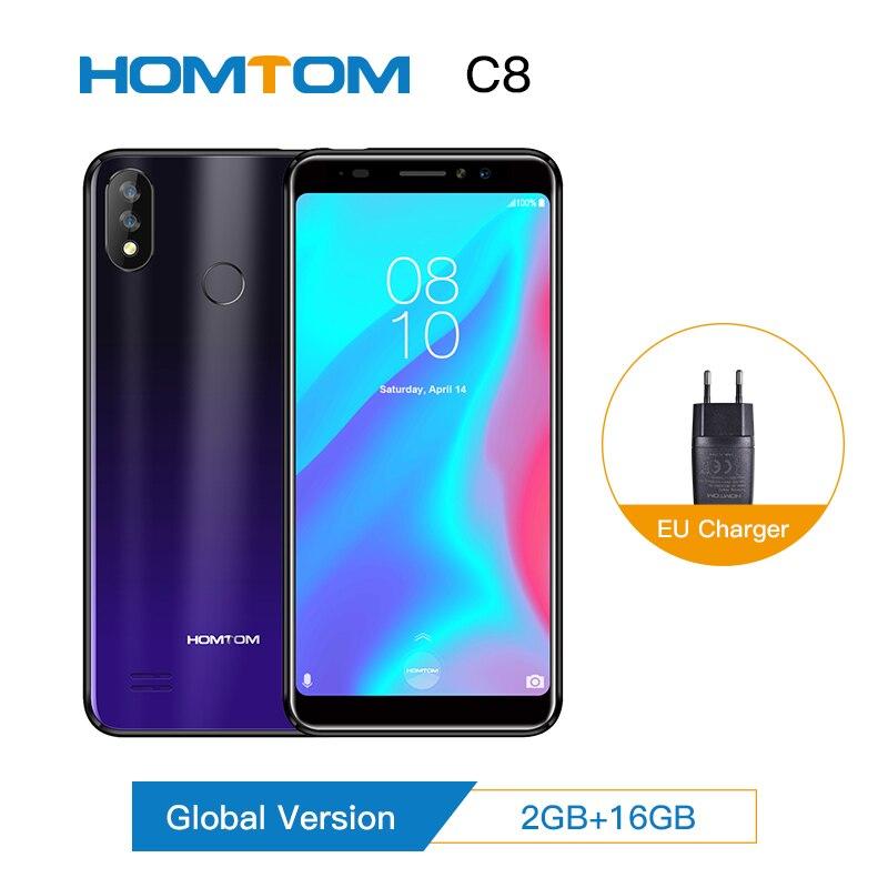 "HOMTOM C8 Mobile Phone 5.5""18:9 Full Display Android 8.1 MT6739 Quad Core 2GB+16GB Smartphone Face Unlock Fingerprint ID 4G FDD"