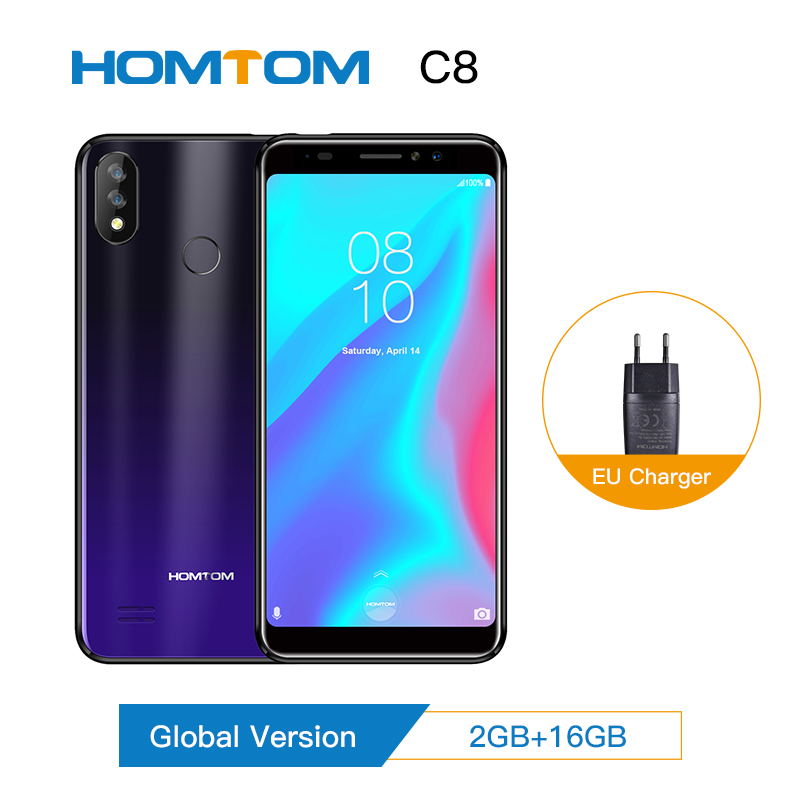 HOMTOM C8 Mobile Phone 5.518:9 Full Display Android 8.1 MT6739 Quad Core 2GB+16GB Smartphone Face Unlock Fingerprint ID 4G FDD image
