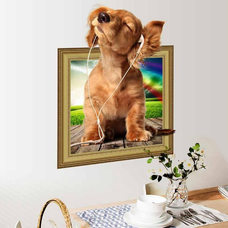 1PC Creative 3D Lovely Pet Dog Puppy Listening To Music 3D Stereo Effect Stickers Home Decoration Wall Art 50*40cm Super Cute V3