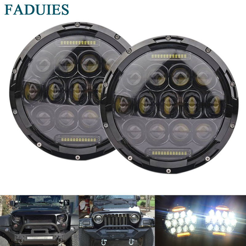 FADUIES 1Pair 7 Inch 75W Black Round LED Headlight with High Low Beam with Yellow DRL For Offroad Jeep Wrangler JK TJ pair for 7 inch round headlight 12v 24v dc high low beam and angel eye led for jeep wrangler jk tj harley davidson motorcycle