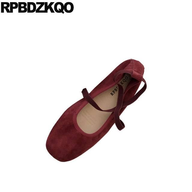 8a77206ef Online Shop 2018 Designer Japanese Square Toe Suede Brown Slip On Vintage  Soft Ballet Flats Women Red Lightweight Shoes Elastic Ballerina