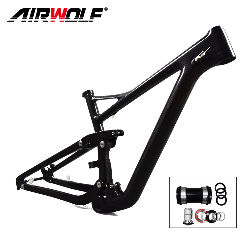 Airwolf 29er Full Suspension Carbon Mountain Bike Frame in Shock 190*51mm travel 122mm Max Tire size 2.4'' Enduro 29er MTB Frame(China)