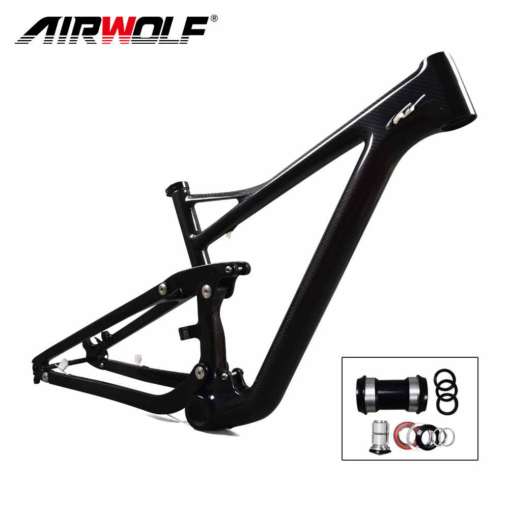 Airwolf 29er Full Suspension Carbon Mountain Bike Frame in Shock 190*51mm travel 122mm Max Tire size 2.4'' Enduro 29er MTB Frame