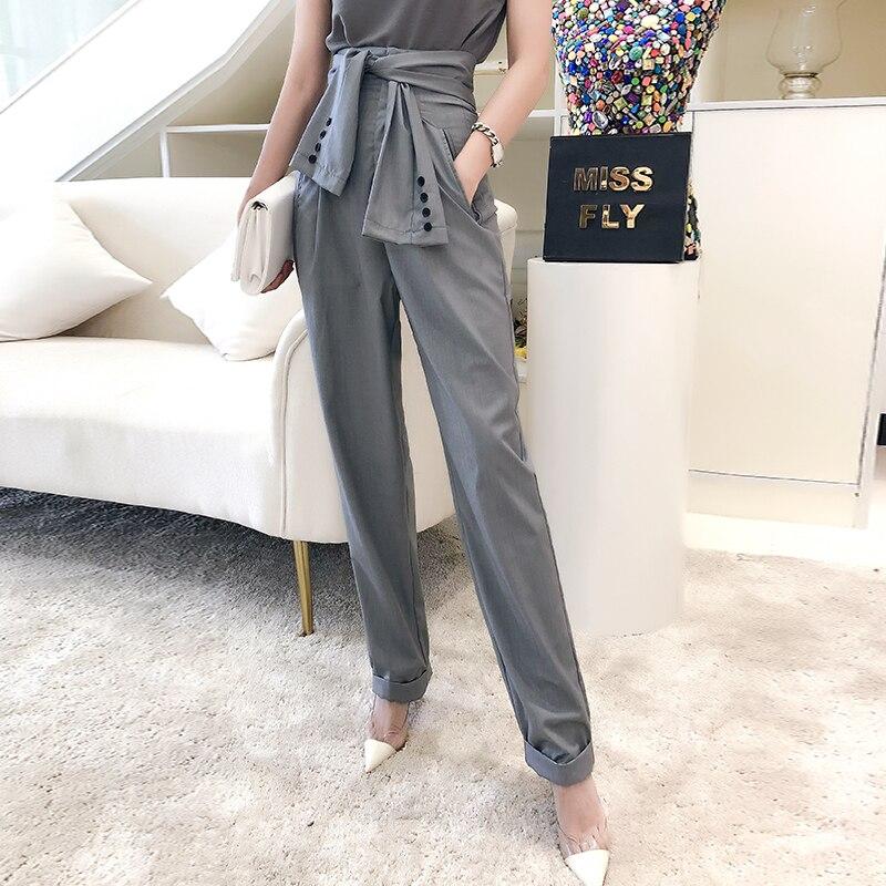 Nueva Atado Versión De Alta Corbata La Rábano Coreana Mangas Otoño Pantalones Personalidad Cintura 1 Mujer Casuales r5POFrq