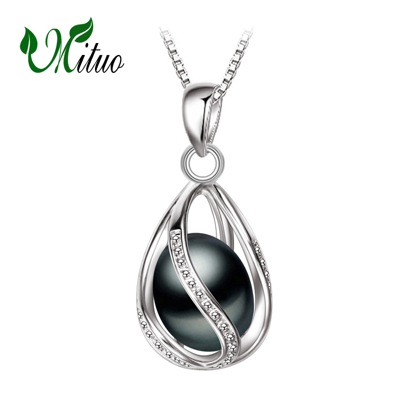 MITUO bohemia necklaces & pendants,natural pearl cages charms for women,fashion style 925 Silver Necklace,pearl cage pendant