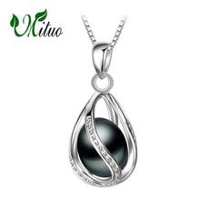 MITUO Bohemia halsband & berlocker, naturpärlor burar charmar för kvinnor, mode stil 925 Silver Halsband, pärla bur hängande