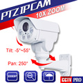 1080 P Mini Bala 2.0MP Cámara IP PTZ 10X Zoom Lente de Iris Automático Pan/Tilt de Rotación Exterior de INFRARROJOS 80 M, Con POE/Alarma/Entrada De Audio Opcional