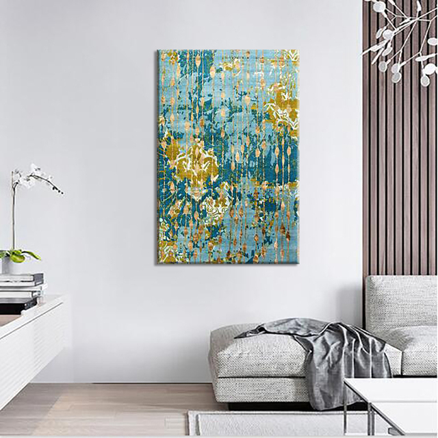 Green Mottled Abstract Canvas Painting Wall Changing Art Deco Best Blueprint Interior Design Painting
