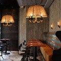 Винтажный абажур из пеньковой веревки  металлическая Подвесная лампа для помещений  освещение бара/магазина/кофейной столовой  подвесные с...