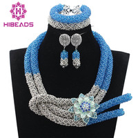 Unique Design Shiny Blue Costume For Women African Jewelry Sets Crystal Bridal Indian Necklace Jewelry Set Free Shipping QW761
