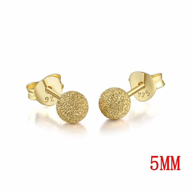 5MM Ball Shaped 100% Real 925-Sterling-Silver Stud Earrings 3