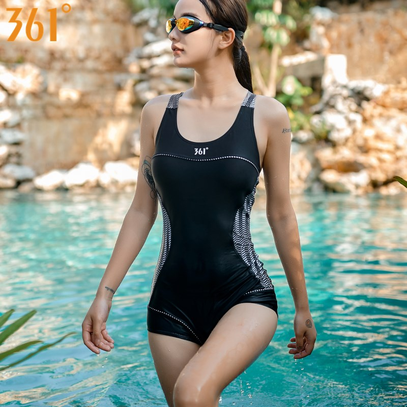 361 Women Athletic Swimsuit Black One-Piece Bathing Suit Chlorine Resistant Swimwear Girls Racing Bathing Suit Female Swimming