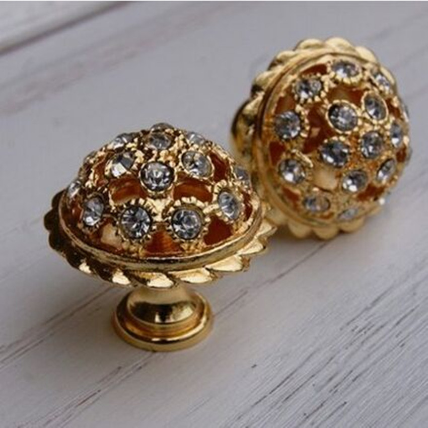 Fashion Deluxe Glass Diamond Furniture Knob 24K Gold Drawer Kitchen cabinet Knob K9 Crystal Dresser Cupboard Door Handle Knob phoenix kitchen cabinet drawer knob furniture handel