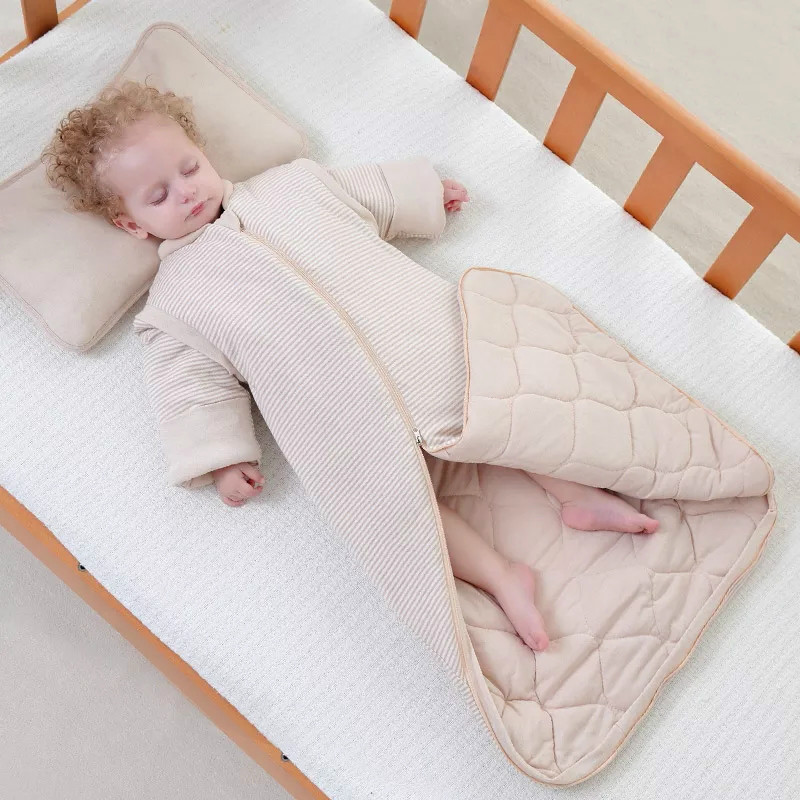Warm soft cotton detachable sleeves sleeping bag envelope style thickened newborn sleep sack winter anti-kick quilt blanket thicken soft knitted sleeping bag kids wrap mermaid blanket