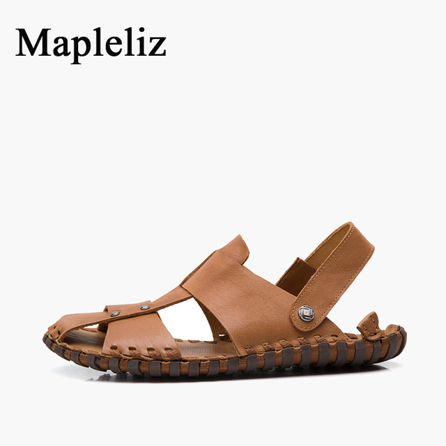 Mapleliz Brand Summer Concise Slip-On Men Flat Shoes Casual Shallow Genuine Leather Soft Beach Sandals Shoes for Men