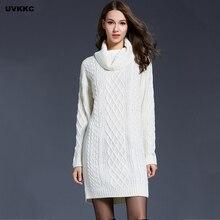 Для женщин длинные Платья-свитеры осень maxiturtleneck пуловер вязаный Платья для женщин толстый трикотаж Для женщин зимние sweter Платья для женщин верхняя одежда