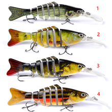 "1 PCS Fishing Bait 11.2cm-4.4 ""-0.497 oz-14.09g Swimbait Fishing Hook Black Tackle 7 Sections"