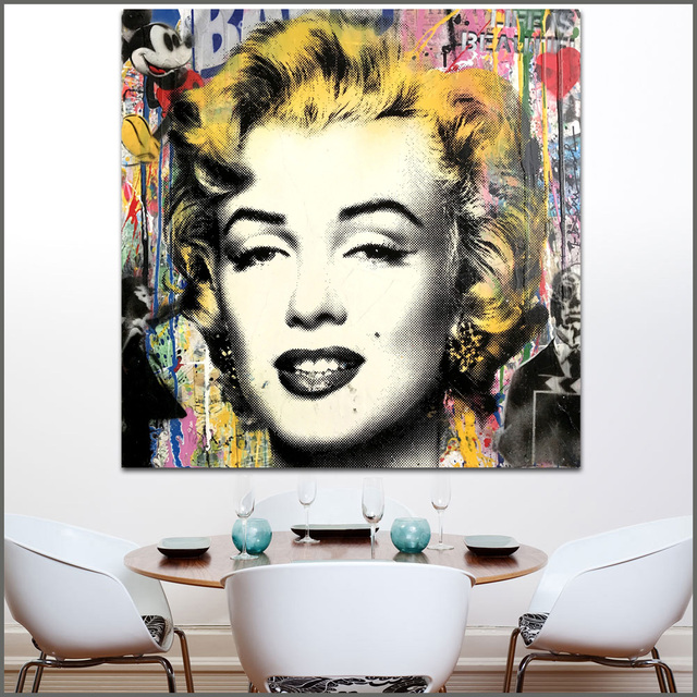 Large size Printing Oil Painting Marilyn Monroe Beauty Wall Art ...