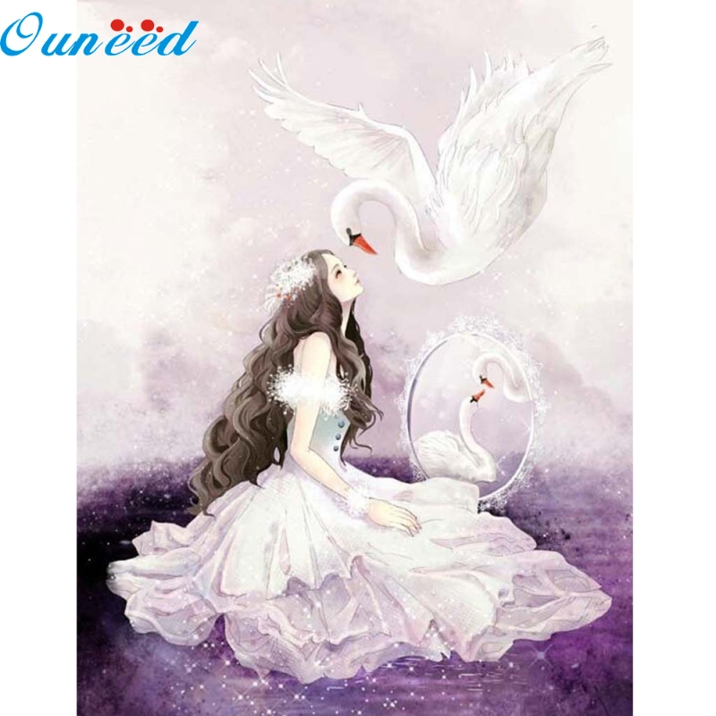Ouneed Happy Home DIY 5D Diamond Painting Swan Girl Embroidery Cross Crafts Stitch Home Decor 1 Piece sb diy diamond painting 050