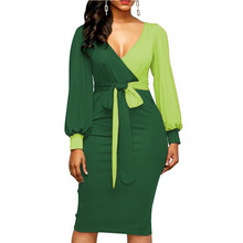 Women Fashion Sashes Sexy Office Lady Work Dress Long Sleeve Deep V Neck Contras