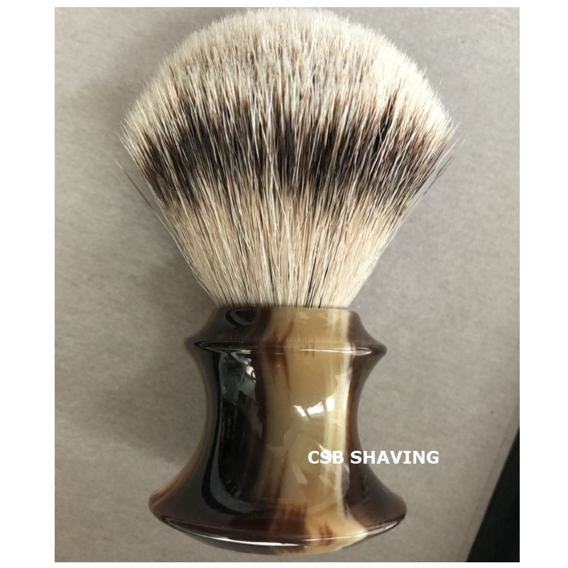 CSB High Quality Silvertip Badger Hair Knot 24mm Faux OX HORN Resin Handle Shaving Brush Mustache Beard Shave Wet Tool