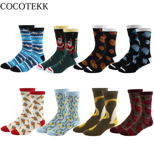 a346d0abe1a8 COCOTEKK New Colorful Fashion Combed Cotton Men Socks Pineapple Pizza Shark  Biscuit Banana Warm Winter Socks