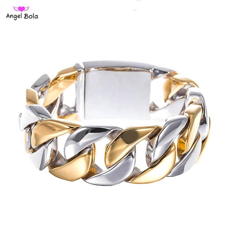 Punk chaîne lien bouddha Bracelets pour hommes en acier inoxydable Chunky et deux tons 21.5 CM Long mâle bracelet bijoux cadeau livraison directe