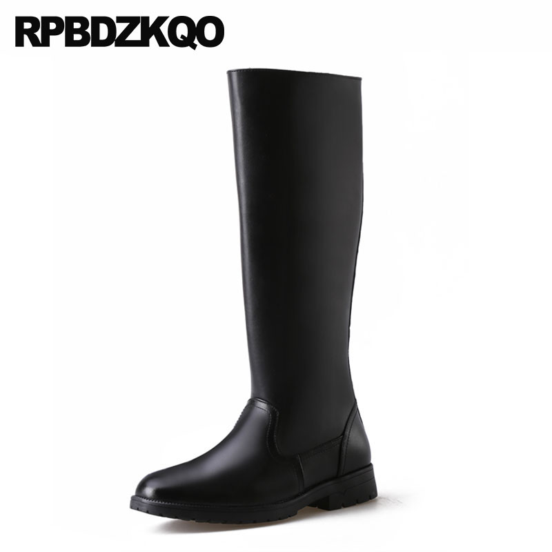 Full Grain Leather Plus Size Men Black Knee High Chunky Tall Fur Mens Winter Boots Warm Super Russian Style Shoes Riding Zipper black super warm winter boots russian style full grain men fashion trainer sneakers high top genuine leather booties fur shoes