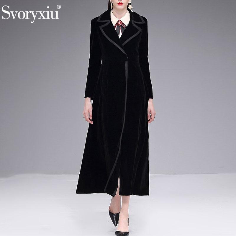 Svoryxiu 2018 Autumn Winter luxury Black Velvet X-Long Overcoat Outwear Women's Designer Vintage Ankle Length Thick   Trench   Coat