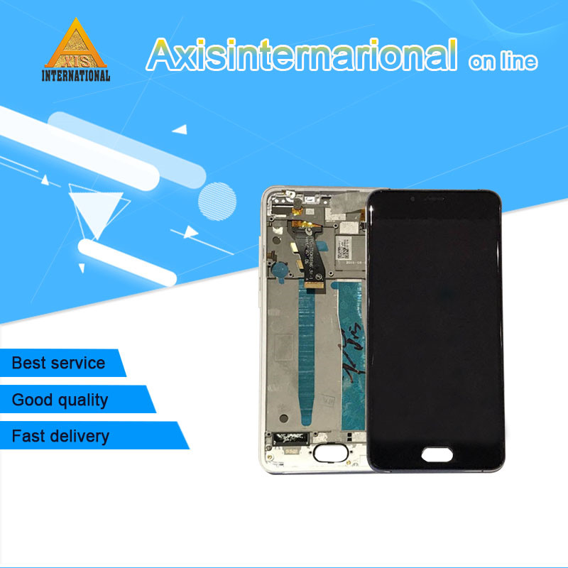 For 5.0 Meizu U10 Axisinternational LCD screen display+Touch Digitizer with frame white/black color Free shipping