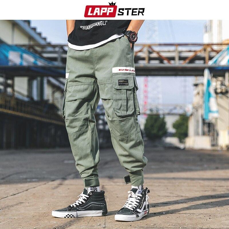 LAPPSTER Loose Pockets Cargo Pants 2019 Hip Hop Baggy Harem Pants Army Green Track Pants Cotton Sweatpants Hype Joggers Pants