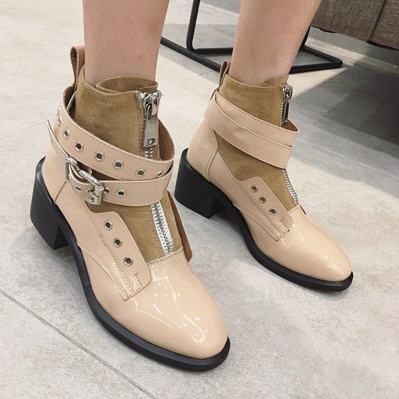 Celebrity Talons Avant Bottines Femmes Boots2019thick Daim noir Patchwork Bottes Punk Boucle Designer Cuir Laqué Beige Zip En Martin FKcl1J