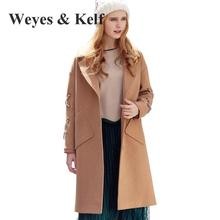 Weyes & Kelf Single Breasted Coat Long Sleeved Camel Wool Ladies Winter Coats 2017 New Casual Winter Winter Trench Coats Women