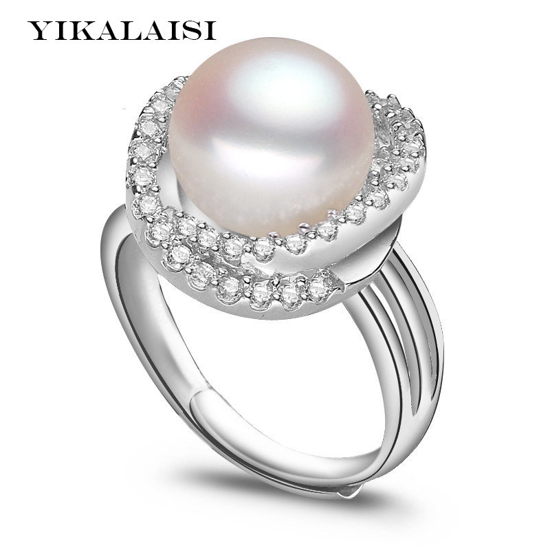 YIKALAISI 2017 Pearl Ring Jewelry Natural Freshwater Pearl Ring Wedding Rings 925 Sterling Silver jewelry Rings For Women Gift