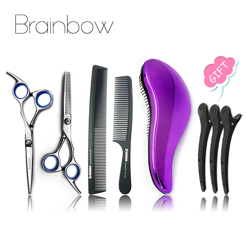 Buy 3 Get 1 Gift Brainbow Hair Styling Tools Set 6.0inch Hair Scissors Cutting&Thinning Carbon Hair Comb Detangling Hair Brushes hair care hight quality real ebony black comb 1 piece health care hair styling tools hair brushes best gift