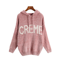Pull Femme Hooded Chenille Women Sweaters And Pullovers 2019 Winter Casual Loose Letter Sweaters Knit Jumper
