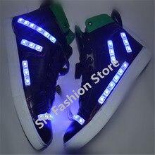 HH820 1 Colorful ballroom dancing LED luminous shoes unisex led men women wireless light ballroom dance