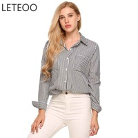 LETEOO Long Sleeve Shirt Blusas Plus Size Blouse Office Clothes Women Turn Down Collar Striped Shirt