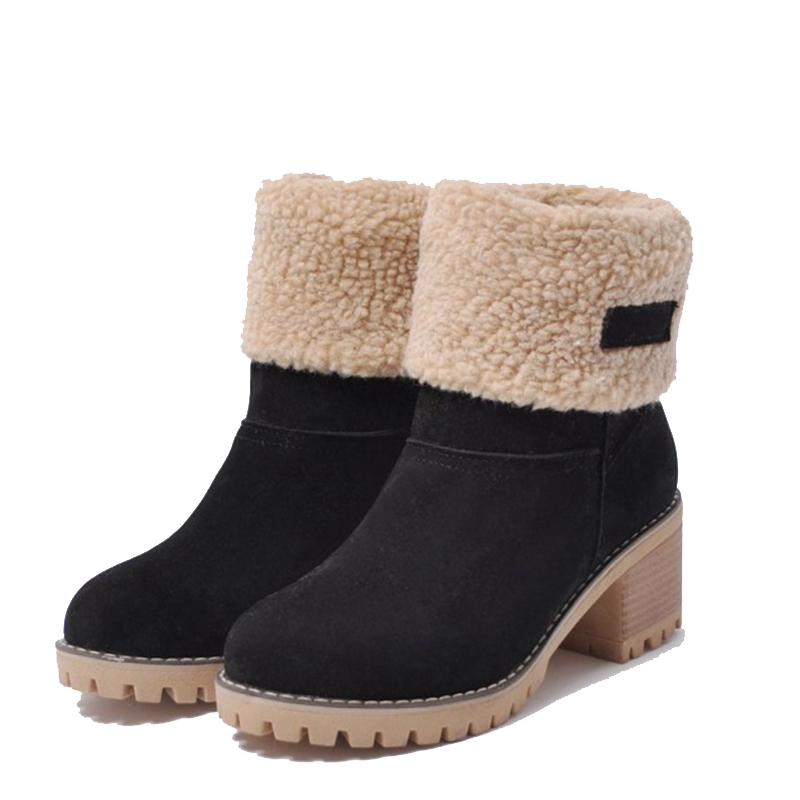 2018 Winter Boots High Women Snow Boots Plush Warm Shoes Plus Size Keep Warm Slip on Lady Shoes Female Hot Boots 737