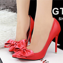 free shipping shoes woman zapatos de tacon alto sapato feminino women's pump korean style tacones bowtie red bottom high heels