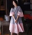 [Soonyour] плюс размер 2017 Весной Новые Тенденции Моды Полосы Хит Цвет Рог Рукав Короткий Рукав Dress Девушку Большой размер Y02202
