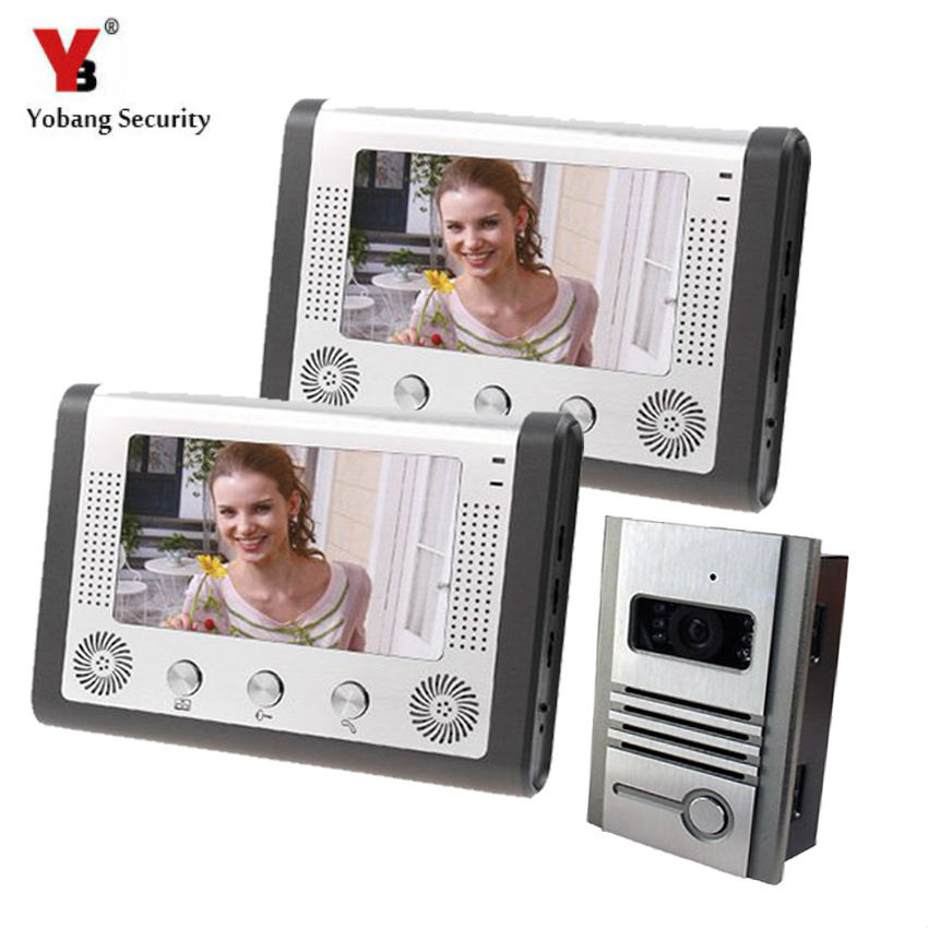 Yobang Security Video Door Phone Intercom Entry System Door Intercom IR Camera Monitor With Night Vision Waterproof  Camera tmezon 4 inch tft color monitor 1200tvl camera video door phone intercom security speaker system waterproof ir night vision 1v1