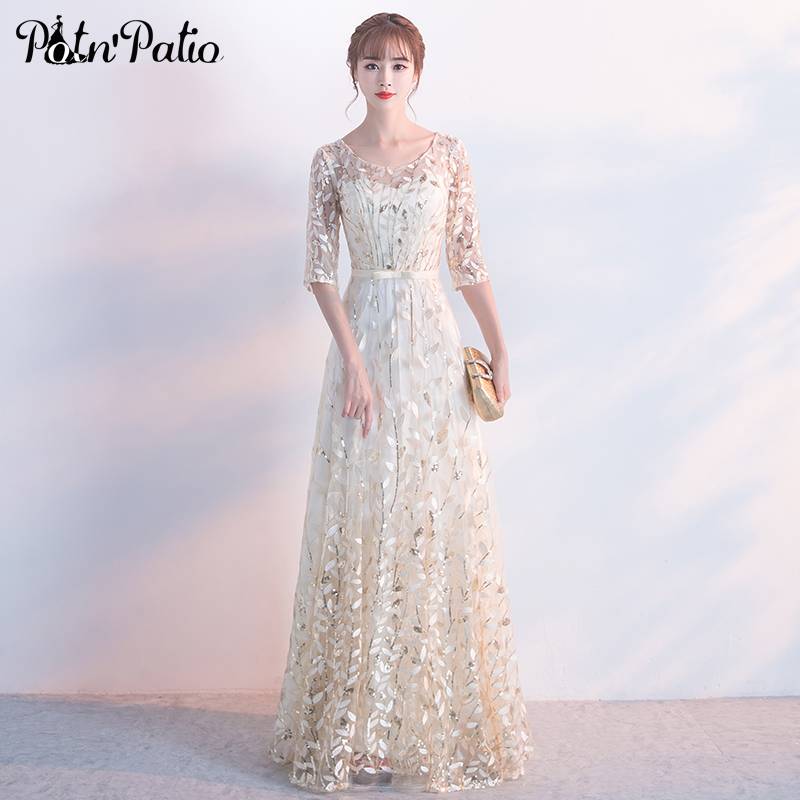 Elegant Evening Dresses Long 2018 New Floor-length Champagne Formal Dress Plus Size Half Sleeves Lace Evening Gowns For Women