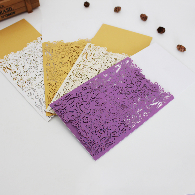 10pcs Laser cut Gold Wedding Invitations Envelope invitaciones de boda convite de casamento Wedding Invitation Cards decoration design laser cut lace flower bird gold wedding invitations kit paper blank convite casamento printing invitation card invite