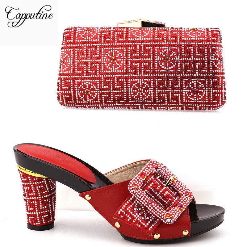 Capputine Latest Design Italian Pumps Shoes With Matching Bag Set African With Rhinestone Wedding Shoes and Bag Set For Women african fashion shoes with matching bag set for wedding party italian design nigeria women pumps shoes and bags mm1060