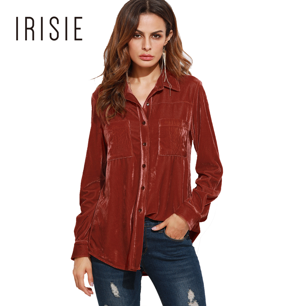 d678adda979ba4 IRISIE Apparel Red Chic Women Shirt Double Pockets Casual Loose Basic Female  Tops Autumn Sweet Single Breasted Velvet Blouse-in Blouses & Shirts from ...