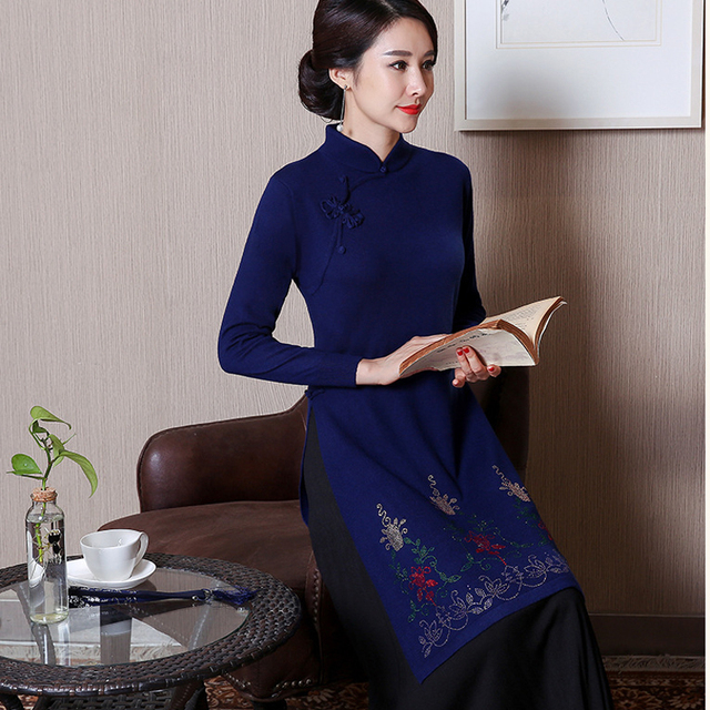 Navy Blue Embroidery Wool Chinese Women Dress Traditional 2PCS Vietnam  Aodai Sexy Elegant Woolen Flower Qipao 2fa8cc04d3b5